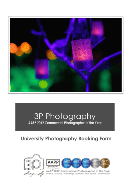 University Photography Booking Form