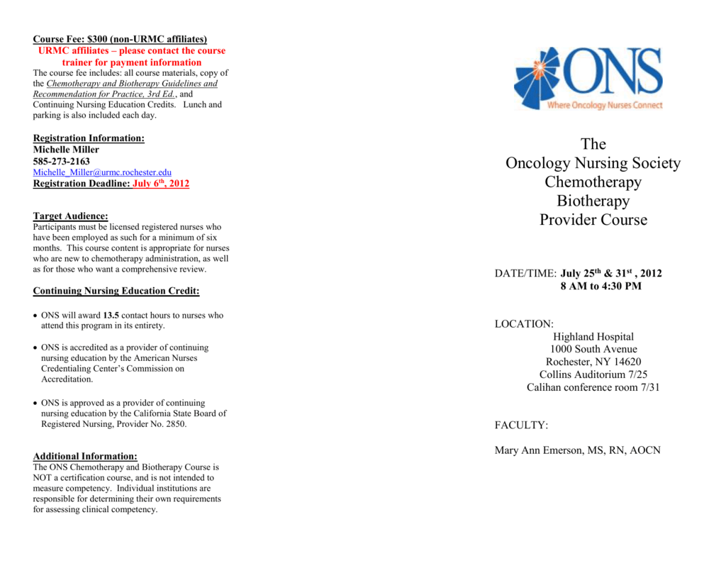 July 6 Th 2012 Oncology Nursing Society