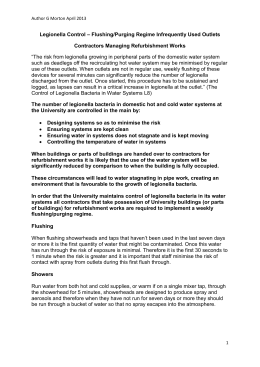 Refurbishment Works - Contractors Flushing/Purging Regime