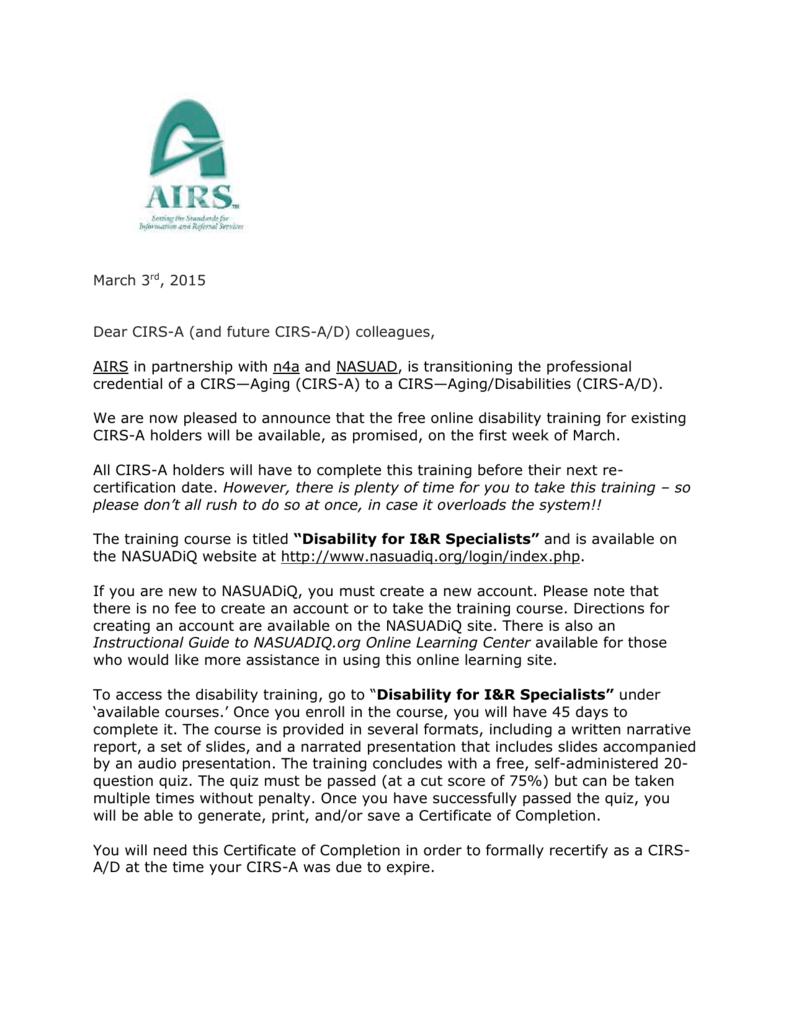 March 3rd 2015 Dear Cirs A And Future Cirs