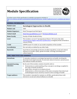 1803 Sociological Approaches to Health Module Specification