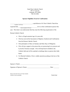 Confirmation Sponsor Form - St. Peter`s Catholic Church