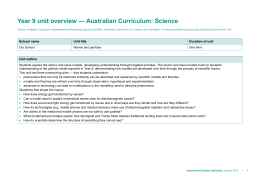 Year 9 unit overview * Australian Curriculum: Science