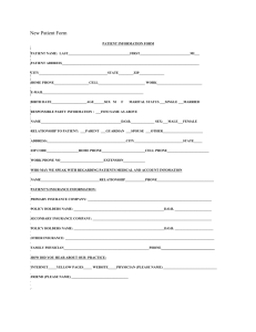 New Patient Forms - Northern Virginia Area Bariatric Constultants