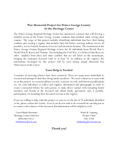 War Memorial Project for Prince George County