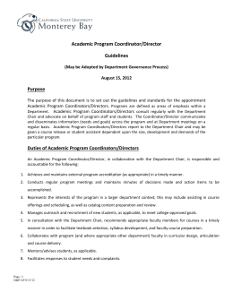 Academic Program Coordinator Guidelines
