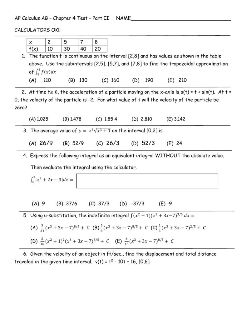 AP Calculus AB – Chapter 4 Test – Part II