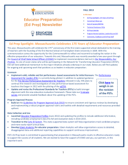 (Ed Prep) Newsletter * Fall 2013 - Massachusetts Department of