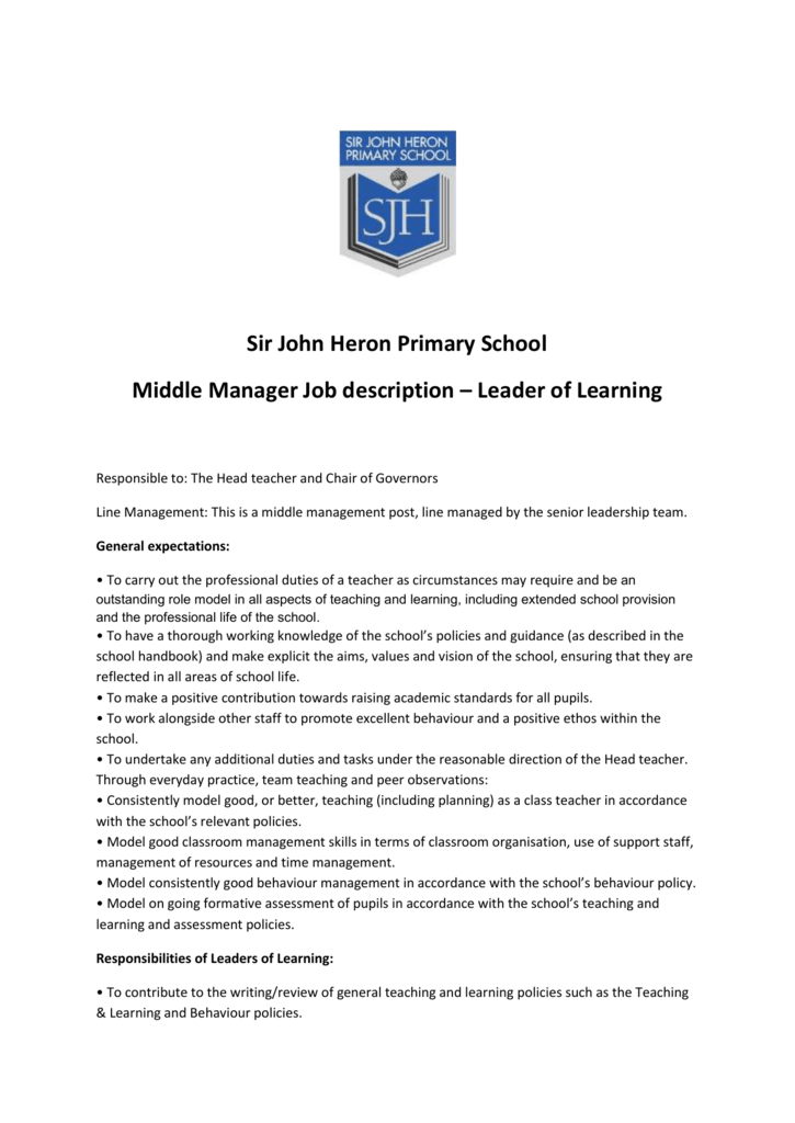 Sir John Heron Primary School Middle Manager Job description