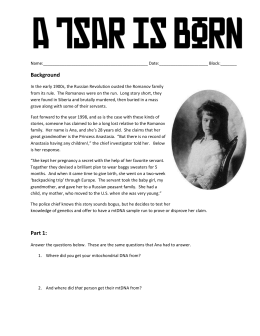 A Tsar is Born student worksheet
