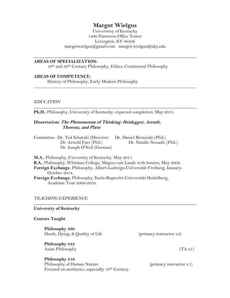 Wielgus CV - Philosophy