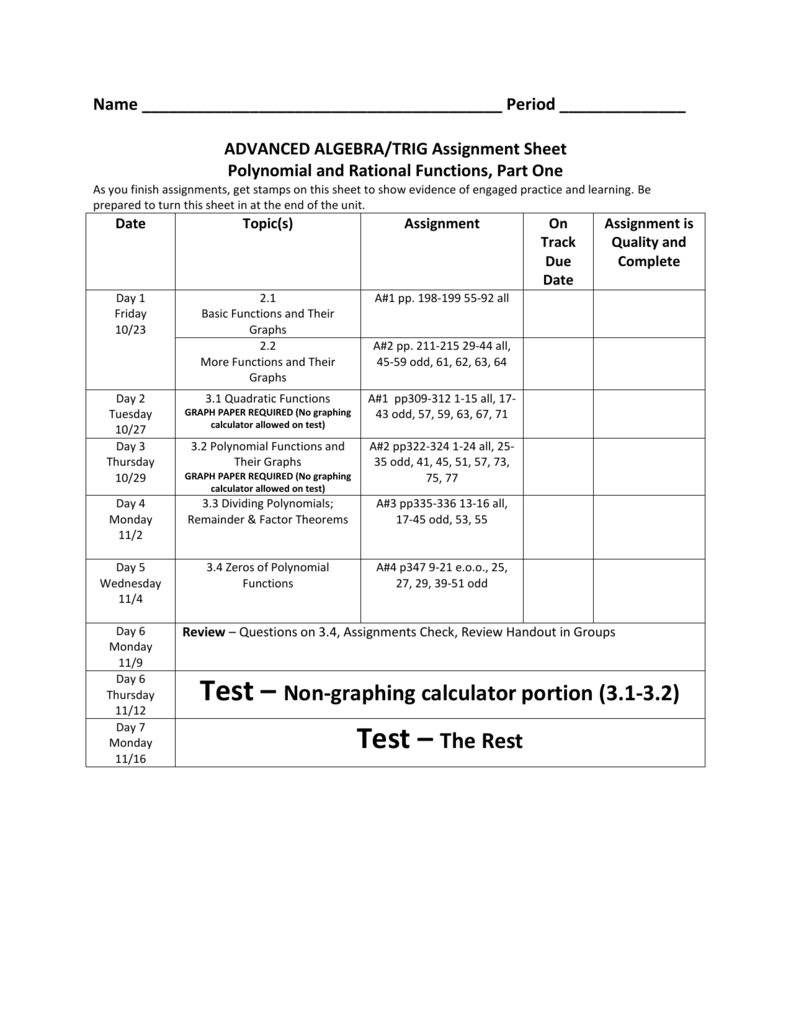 ADVANCED ALGEBRA/TRIG Assignment Sheet Polynomial and