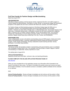 Full-Time Faculty for Fashion Design and Merchandising