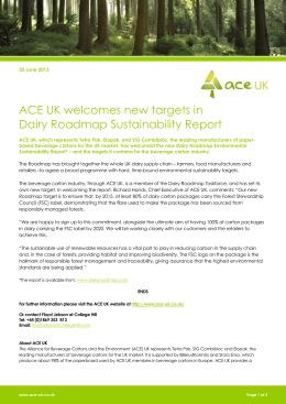 ACE UK welcomes new targets in Dairy Roadmap Sustainability
