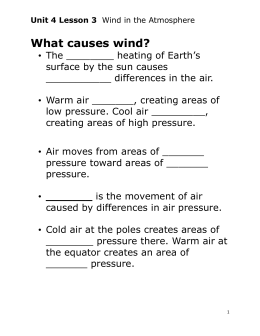 Unit 4 Lesson 3 Wind in the Atmosphere