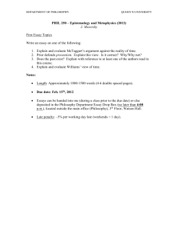 First Essay Topics - POST