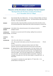 Minutes of the Broxburn Academy Parent Council