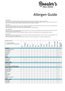 Allergen Guide DIETARY NEEDS If you suffer from a food allergy or