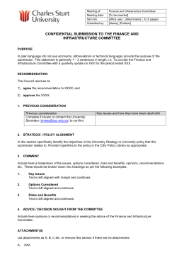Finance and Infrastructure Committee Submission Template