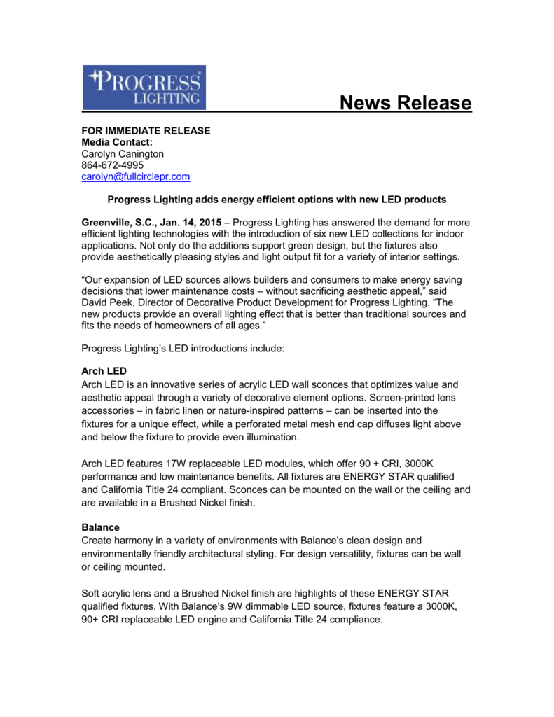 Progress Lighting New Interior Led 2017 News Release