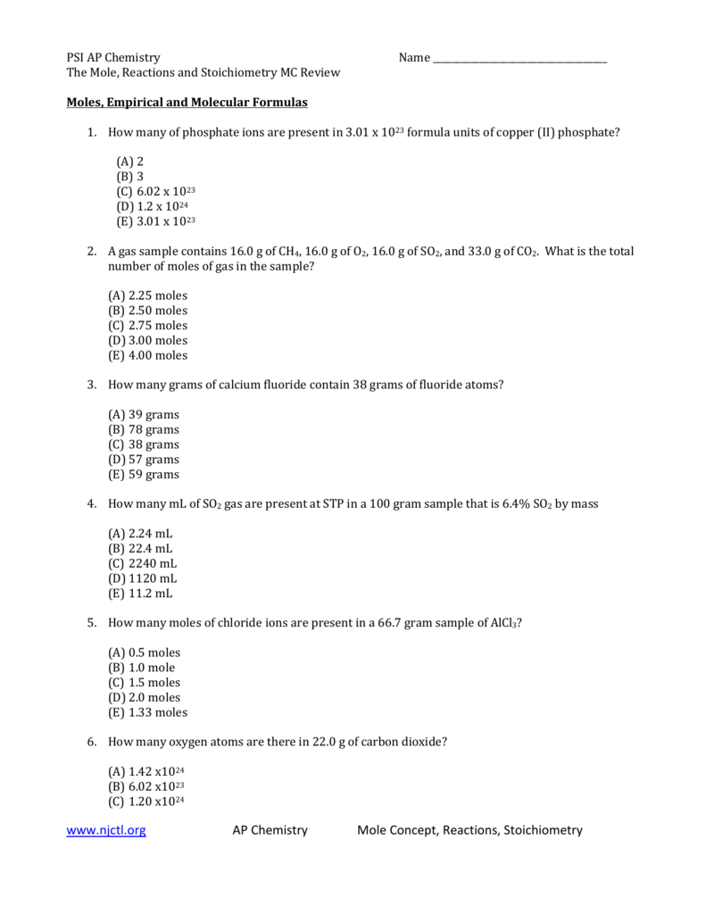 PSI AP Chemistry Name The Mole, Reactions and Stoichiometry MC