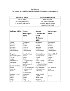 Handout #1 – Biblical books ordering