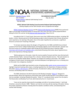 FOR IMMEDIATE RELEASE - National Safe Boating Council