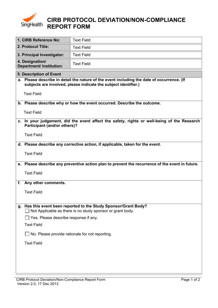 CIRB Protocol Deviation-Non-Compliance Report Form
