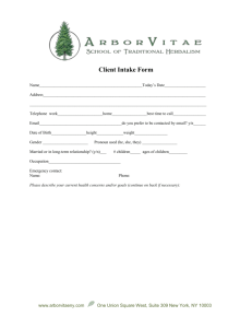 Client Intake Form - ArborVitae School of Traditional Herbalism