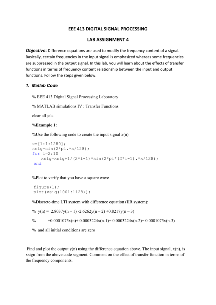 eee 413 digital signal processing lab assignment 4