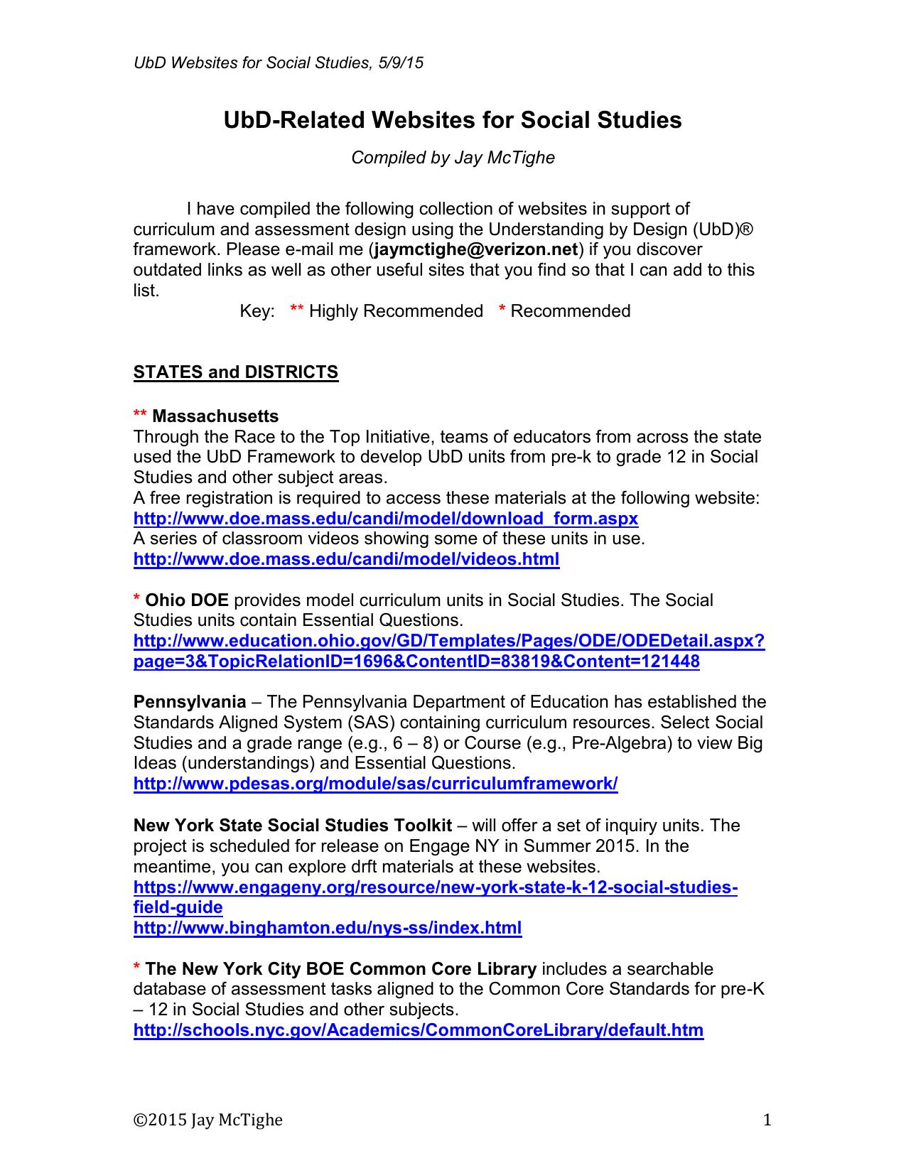 Social Studies UbD Websites