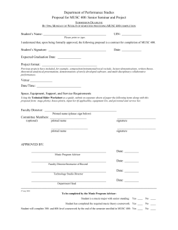 MUSC 400 Proposal Form - Department of – Performance Studies