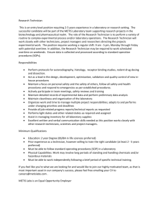 Research Technician This is an entry level position requiring 2