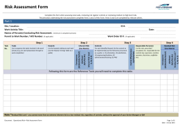PBPL Risk Assessment Form