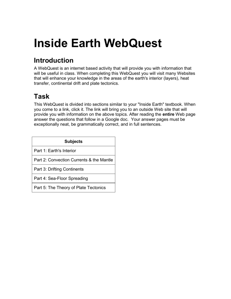 Inside Earth WebQuest – Convection Currents Worksheet