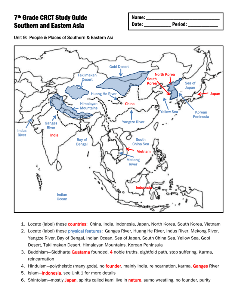 7th Grade Crct Study Guide Southern And Eastern Asia