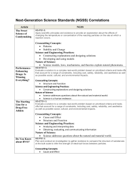 Next-Generation Science Standards (NGSS) Correlations