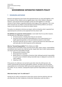 Separated parents policy - Woodbridge Junior School