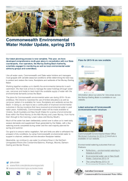 Commonwealth Environmental Water Holder Update, spring 2015