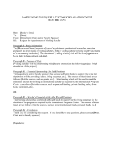 Sample Memo to Request a Visiting Scholar Appointment from the