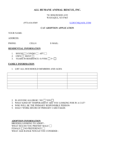 Cat Adoption Form - All Humane Animal Rescue, Inc.