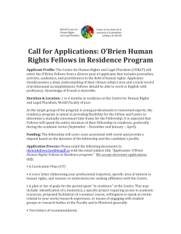 Call for Applications: O`Brien Fellows in Residence