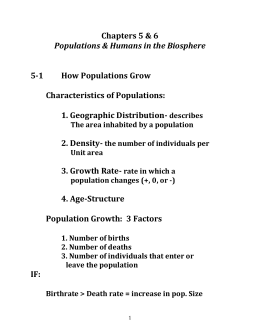 Chapters 5 & 6 Populations & Humans in the Biosphere 5