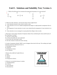 Unit 8 – Solutions and Solubility Test, Version A