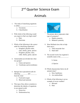 2nd qtr Science Exam (Animals) Modified