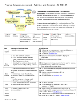 Program Outcome Assessment * Activities and Checklist * AY 2014-15