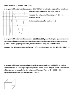 EVALUATING POLYNOMIAL FUNCTIONS