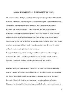 PPG Chairmans Report - Market Harborough Medical Centre
