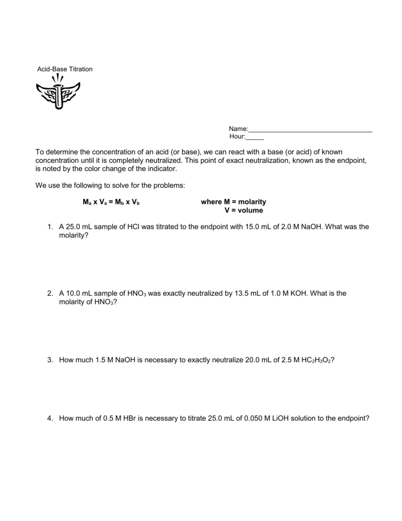 worksheet Titrations Practice Worksheet acid base titration