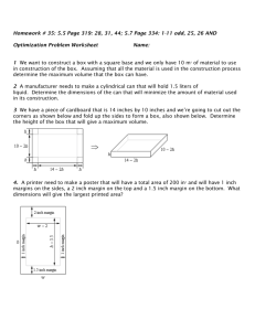 Optimization Worksheet